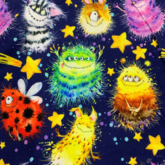 Fuzzy Monsters on Bamboo/Spandex Jersey