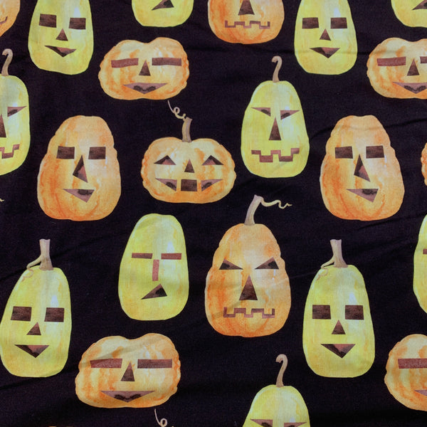 Pumpkin Rows on Brown Bamboo/Spandex Jersey