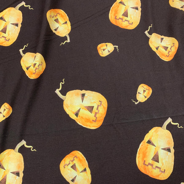 Tossed Pumpkins on Brown Bamboo/Spandex Jersey