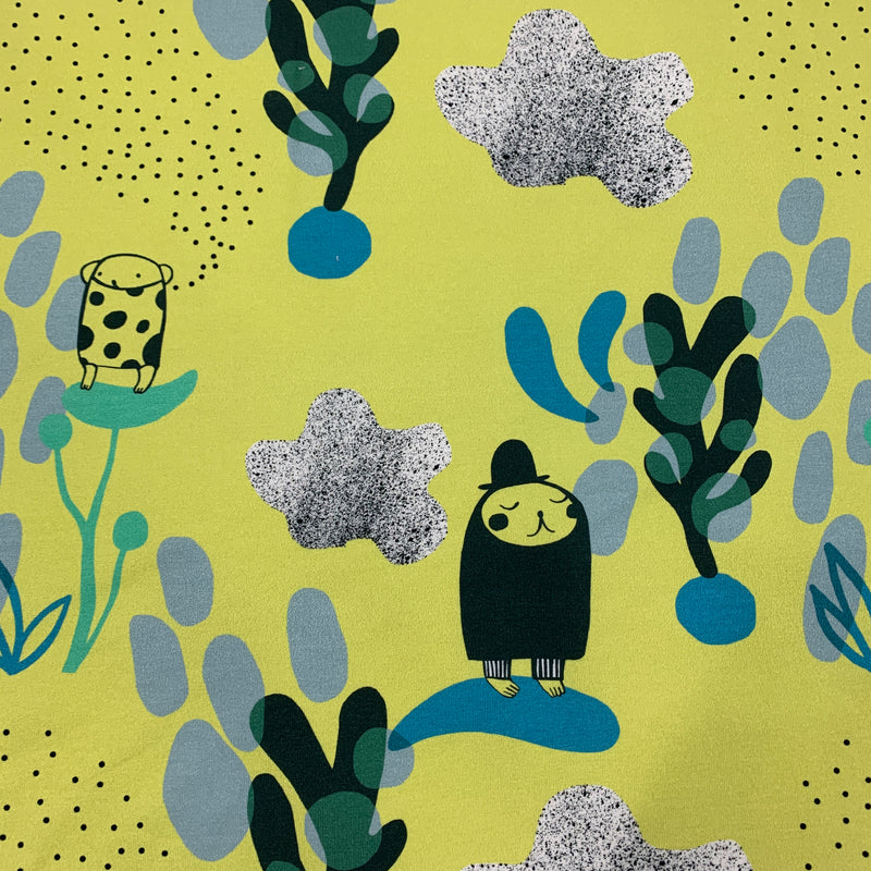 Planet Kuinkuu on Yellow Organic Cotton/Spandex French Terry