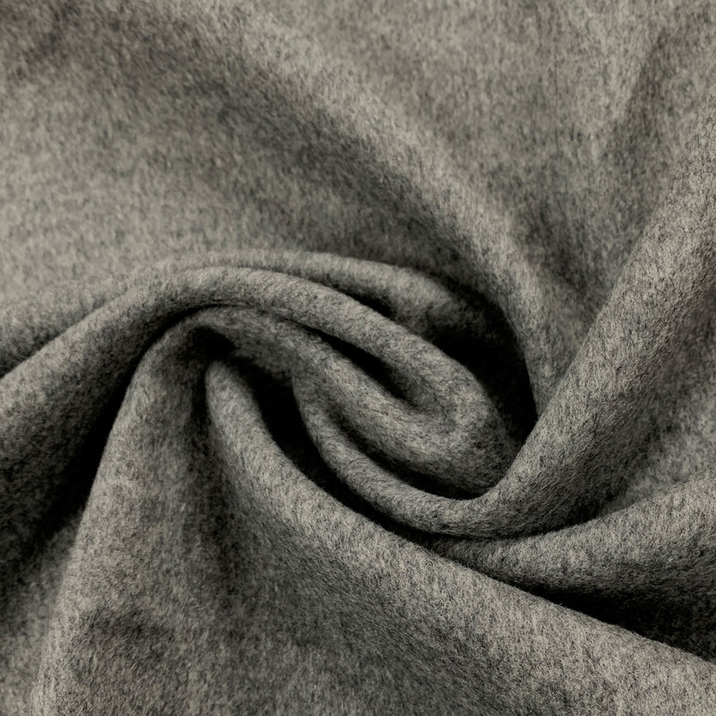 Medium Gray Brushed Merino Wool Coating