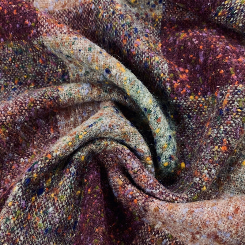 Maroon Tweed Merino Wool Coating