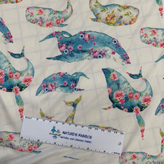 Flowery Whales 1 mil PUL - Made in the USA