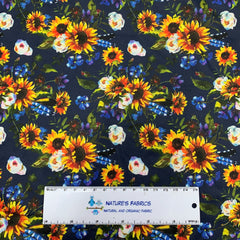 Sunflowers on Navy 1 mil PUL - Made in the USA - Nature's Fabrics