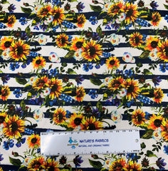 Sunflower Stripe on White 1 mil PUL - Made in the USA