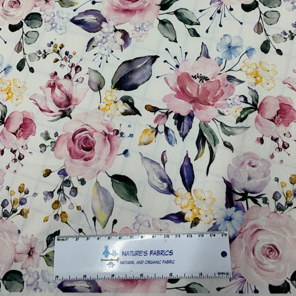 Pink Roses on White 1 mil PUL - Made in the USA - Nature's Fabrics