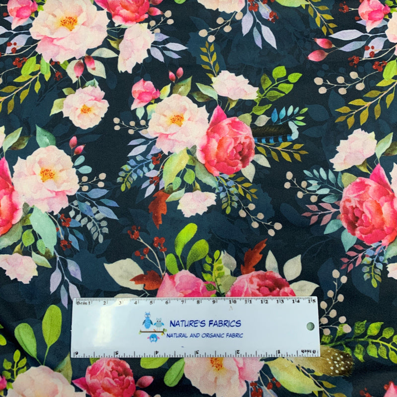 Pink Roses on Navy 1 mil PUL - Made in the USA