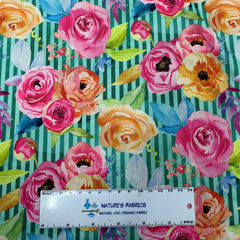 Pink and Orange Flowers on Green Stripes 1 mil PUL - Made in the USA
