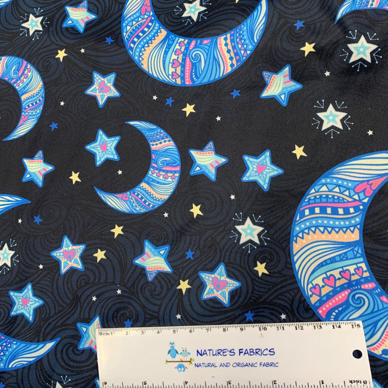 Moon and Stars on Navy 1 mil PUL - Made in the USA