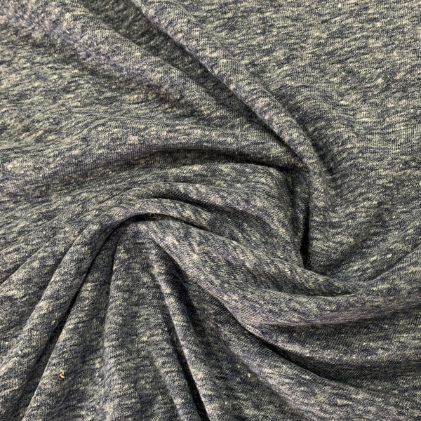 Navy Heather Linen Blend Jersey - Nature's Fabrics