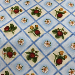 Fresh Strawberry on 100% Cotton Woven - Nature's Fabrics