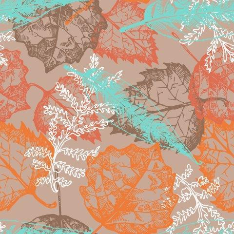 Filigree Leaves on Tan Organic Cotton/Spandex Jersey - Nature's Fabrics