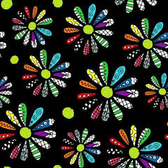 Patchwork Daisies on Black 100% Organic Cotton Woven - Nature's Fabrics