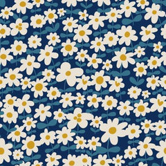 Daisy Chains on Navy Bamboo/Spandex Jersey - Nature's Fabrics