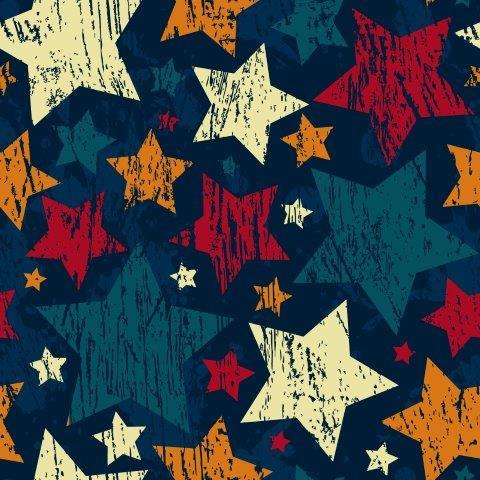 Distressed Stars on Blue Bamboo/Spandex Jersey - Nature's Fabrics