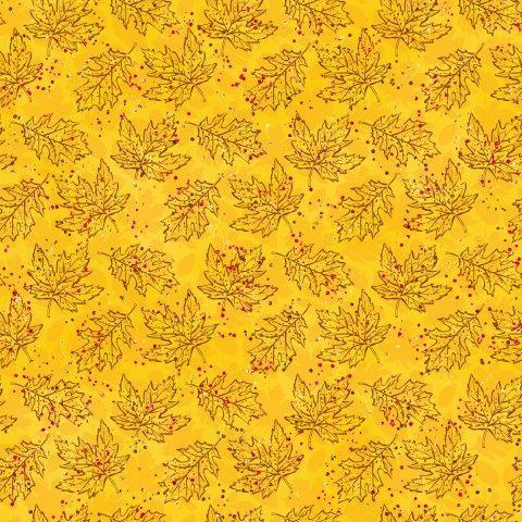 Maple and Oak Leaves on Gold Organic Cotton/Spandex Jersey - Nature's Fabrics