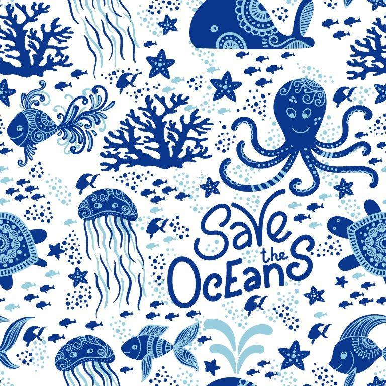 Save the Oceans 1 mil PUL - Made in the USA - Nature's Fabrics