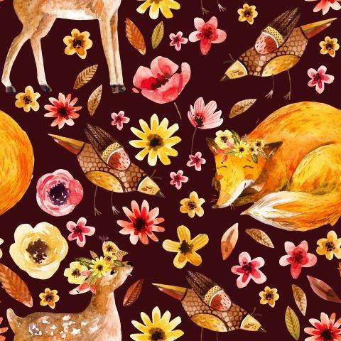 Fox and Deer In The Garden on Bamboo/Spandex Jersey