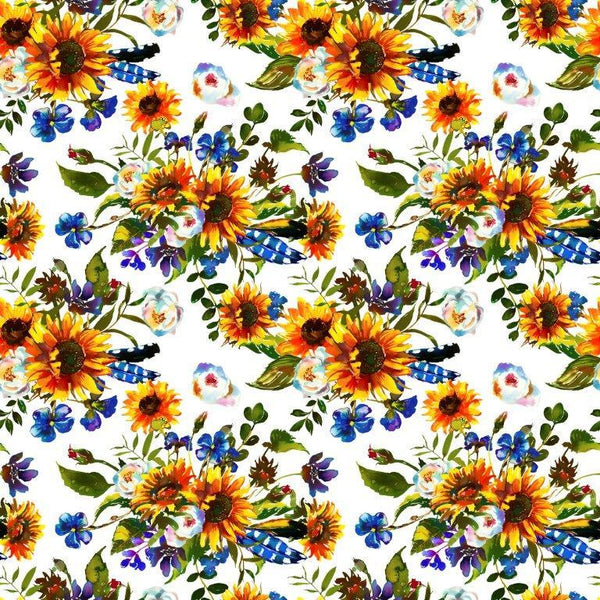 Sunflowers on White 1 mil PUL - Made in the USA - Nature's Fabrics