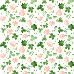 Shamrocks and Flowers on White Bamboo/Spandex Jersey