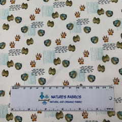 Animal Pals Footprints on White 1 mil PUL - Made in the USA