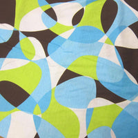 Anita G Lime, Blue and Brown Geodesic on Cotton Jersey