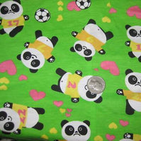 Panda Bears Love Soccer On Green Cotton Jersey