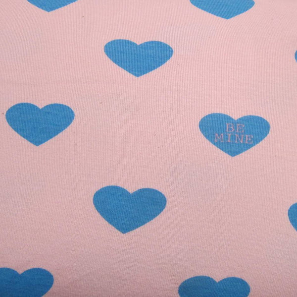 Be Mine Hearts on Pink Cotton Rib
