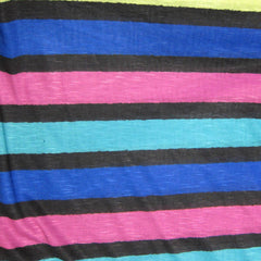 Black, Teal and Royal Stripes on Cotton/Poly Jersey
