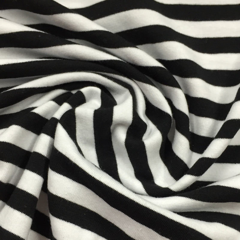 "Black and White 3/8"" Stripe on Cotton/Spandex Jersey"