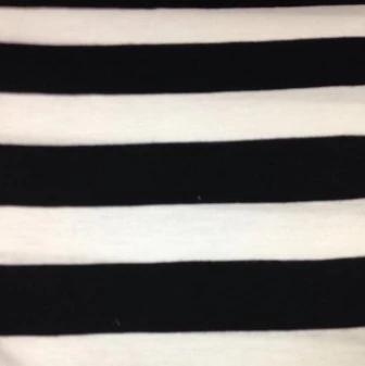 "Black and White 1 1/4"" Stripes on Cotton/poly Jersey"