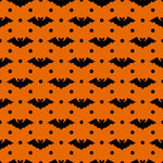 Black Bats and Dots on Orange Organic Cotton/Spandex Jersey