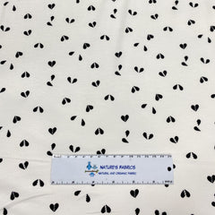 Black Broken Hearts on White Bamboo/Spandex Jersey