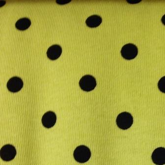 "Black 1/4"" Dots on Citrus Cotton Jersey"