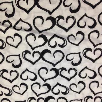 Black Hearts on White Cotton/Poly Jersey
