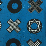 Black X's and O's on Blue Organic Cotton/Spandex Jersey