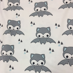 Happy Bats with Blue on White Organic Cotton/Spandex Jersey