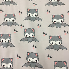 Happy Bats with Pink on Gray Organic Cotton/Spandex Jersey