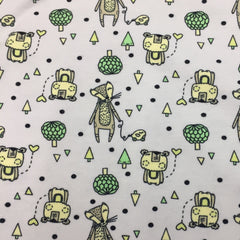 Happy Forest Animals on White Organic Cotton/Spandex Jersey