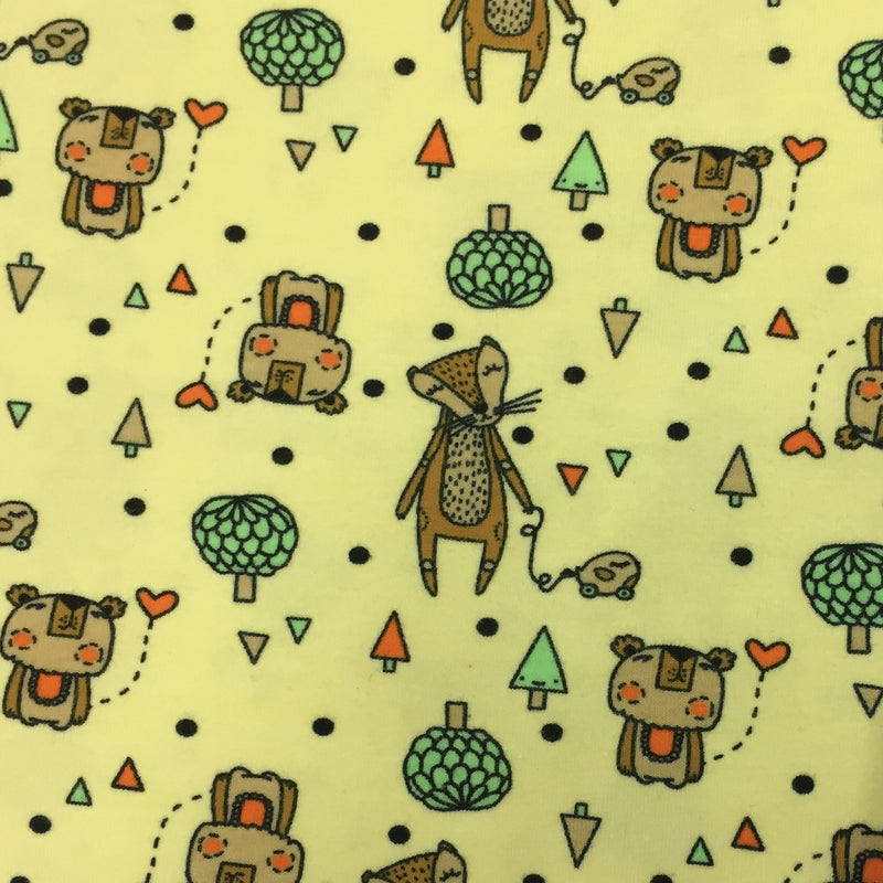 Happy Forest Animals on Yellow Organic Cotton/Spandex Jersey