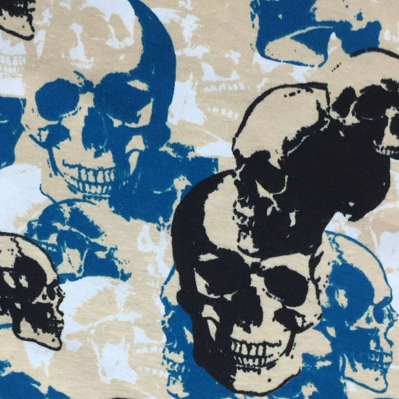 Blue and Black Skull Camouflage on Cotton/Spandex Jersey