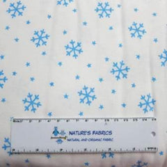Blue Snowflakes on White Cotton Rib