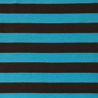 "Brown and Blue 1/2"" Stripes on Cotton/Spandex Jersey"
