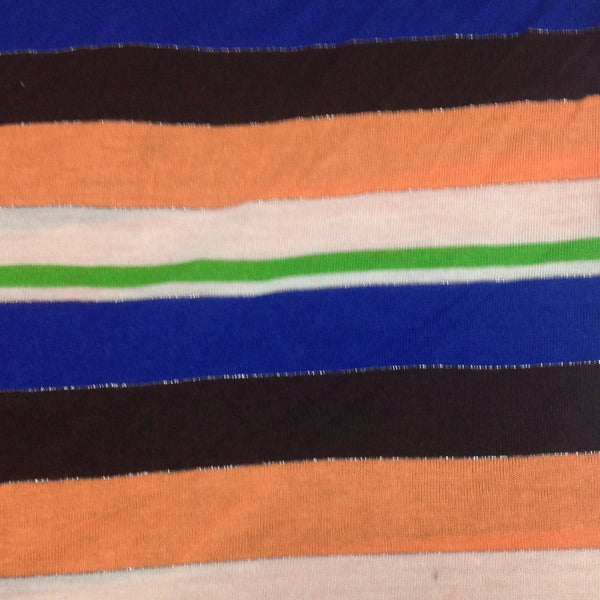 Brown, Blue and Orange Stripes on Cotton/Poly Jersey
