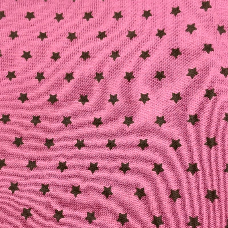 Brown Micro Stars on Pink Cotton Rib Knit