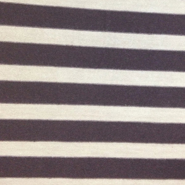 "Brown and Tan 3/8"" Stripes on Cotton/Spandex Jersey"