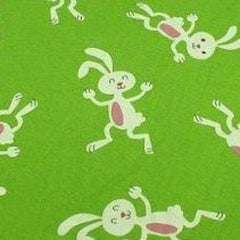 Dancing Bunnies on Green Cotton Jersey