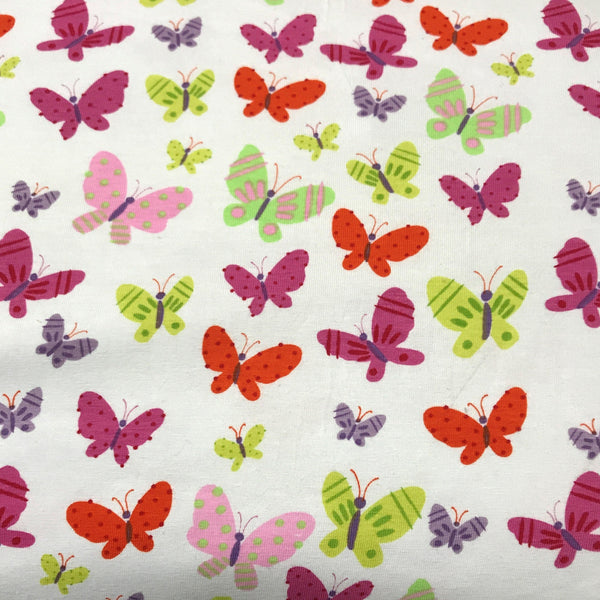 Butterflies on White Cotton/Spandex Jersey