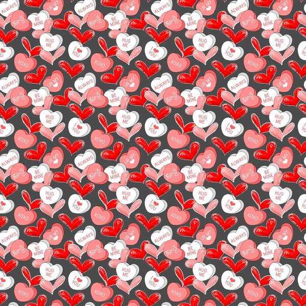 Candy Hearts Polyester Stretch Mallow