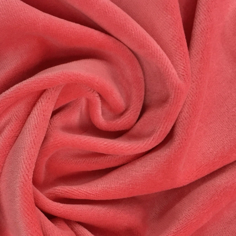 Coral Organic Cotton Velour, $7.63/yd - Rolls